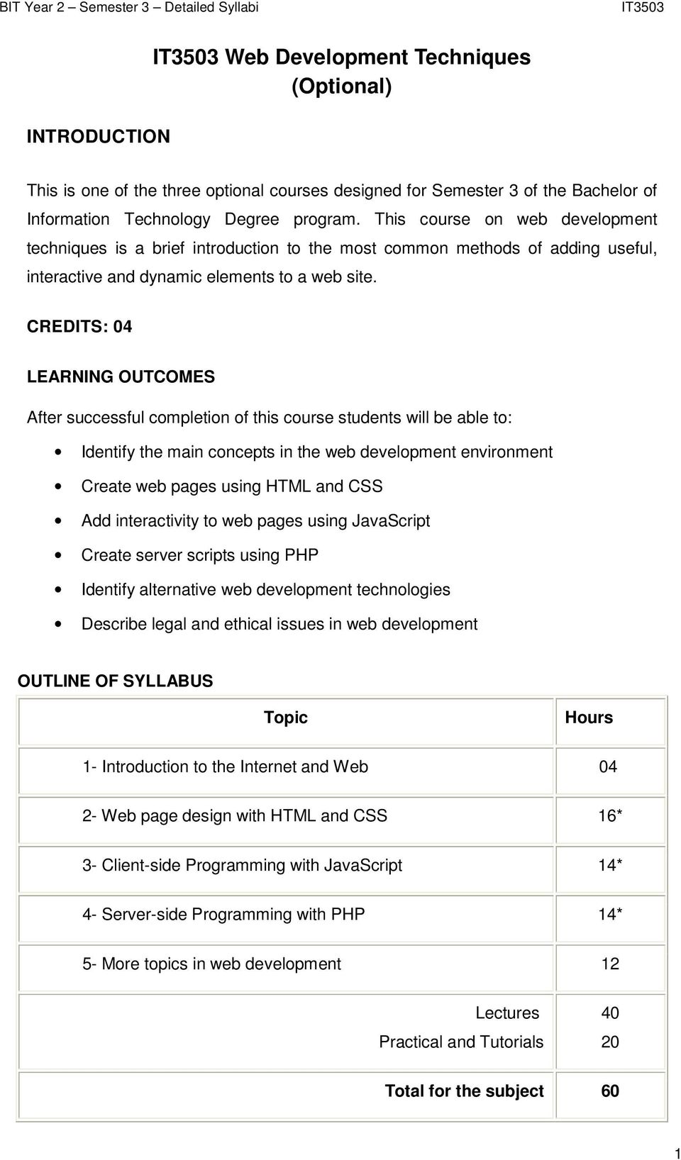 CREDITS: 04 LEARNING OUTCOMES After successful completion of this course students will be able to: Identify the main concepts in the web development environment Create web pages using HTML and CSS