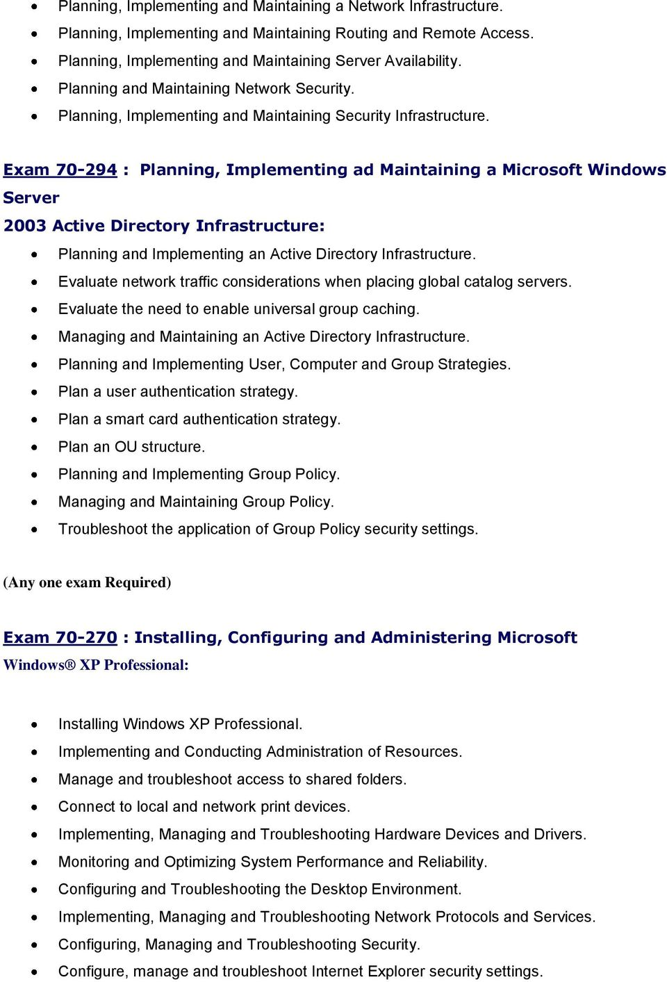 Exam 70-294 : Planning, Implementing ad Maintaining a Microsoft Windows Server 2003 Active Directory Infrastructure: Planning and Implementing an Active Directory Infrastructure.