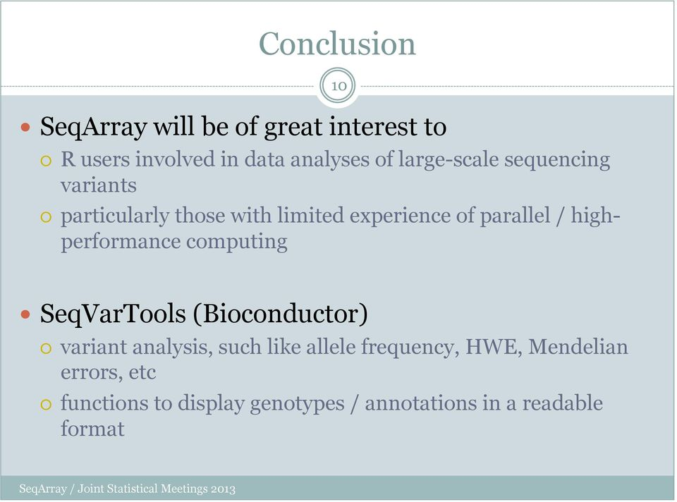 highperformance computing SeqVarTools (Bioconductor) variant analysis, such like allele
