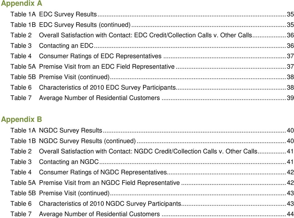 .. 38 Table 6 Characteristics of 2010 EDC Survey Participants... 38 Table 7 Average Number of Residential Customers... 39 Appendix B Table 1A NGDC Survey Results.