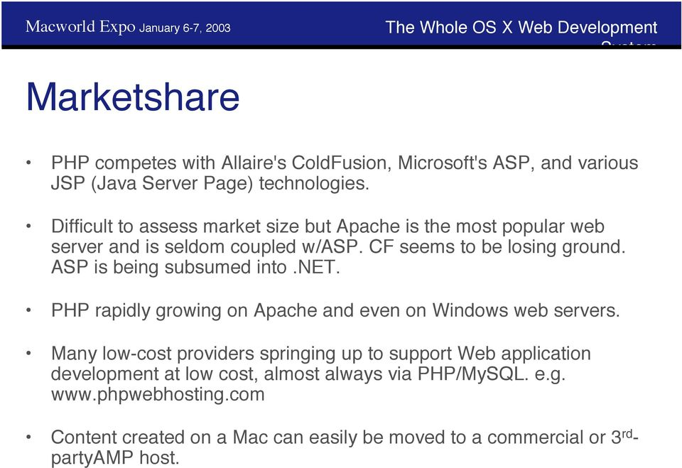 ASP is being subsumed into.net. PHP rapidly growing on Apache and even on Windows web servers.