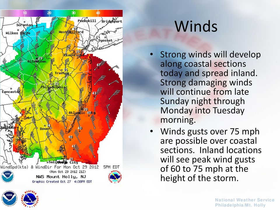 Tuesday morning. Winds gusts over 75 mph are possible over coastal sections.