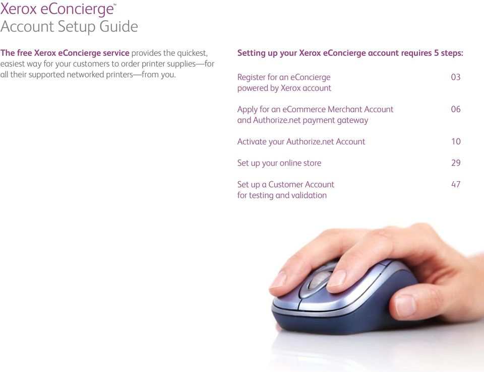 Setting up your Xerox econcierge account requires 5 steps: Register for an econcierge 03 powered by Xerox account Apply for an