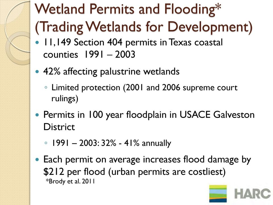 court rulings) Permits in 100 year floodplain in USACE Galveston District 1991 2003: 32% - 41% annually