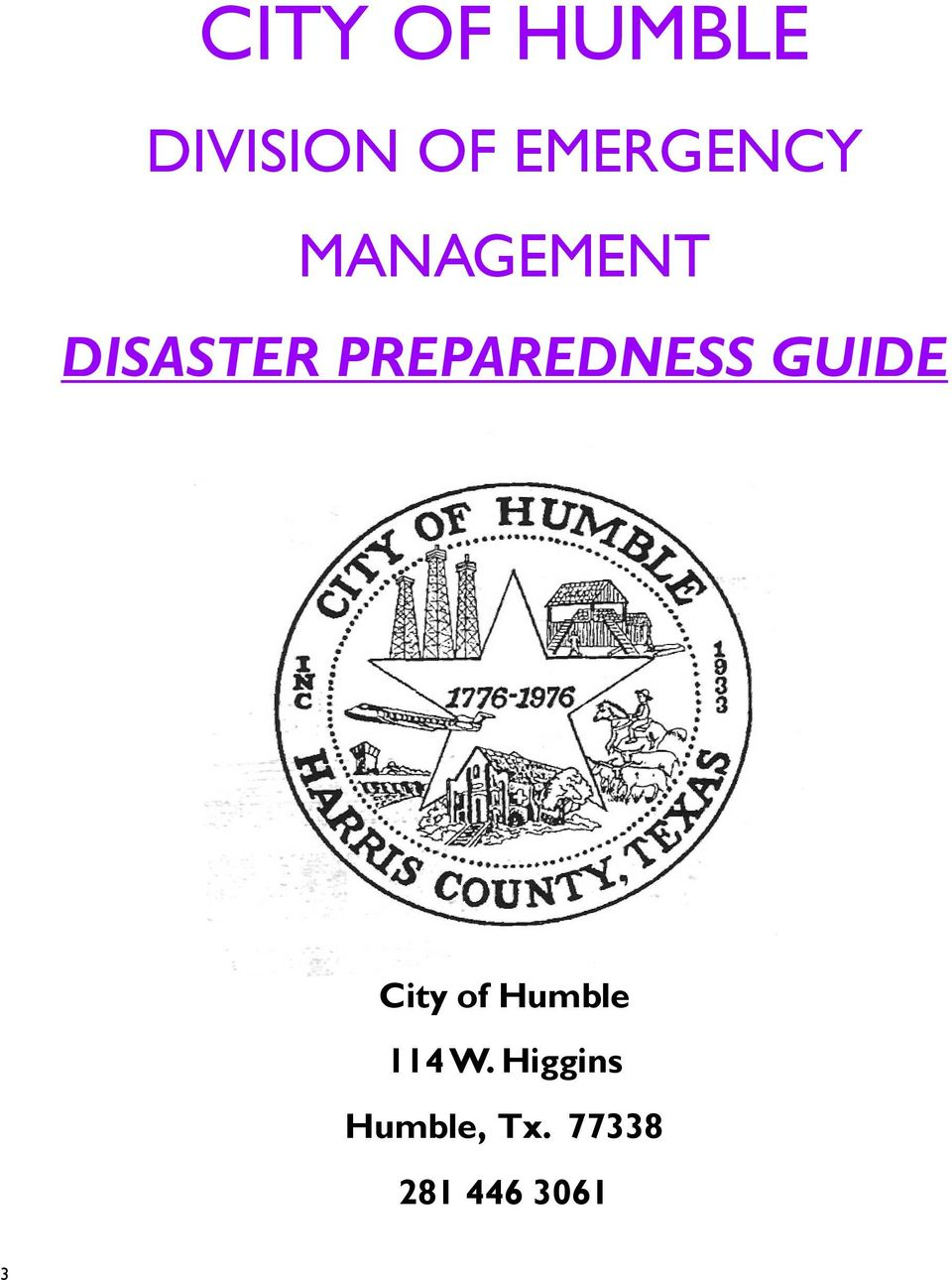PREPAREDNESS GUIDE City of Humble