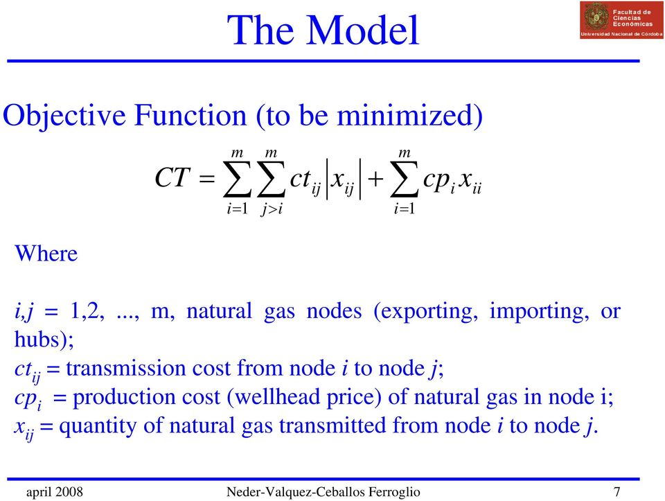 node j; cp i = production cost (wellhead price) of natural gas in node i; x ij = quantity of