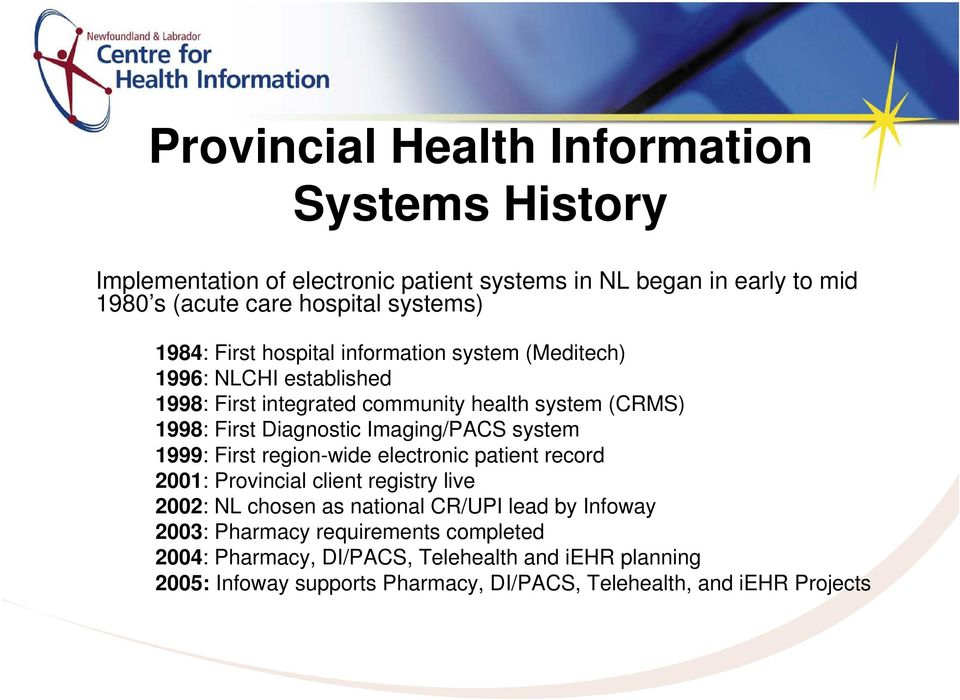 Imaging/PACS system 1999: First region-wide electronic patient record 2001: Provincial client registry live 2002: NL chosen as national CR/UPI lead by