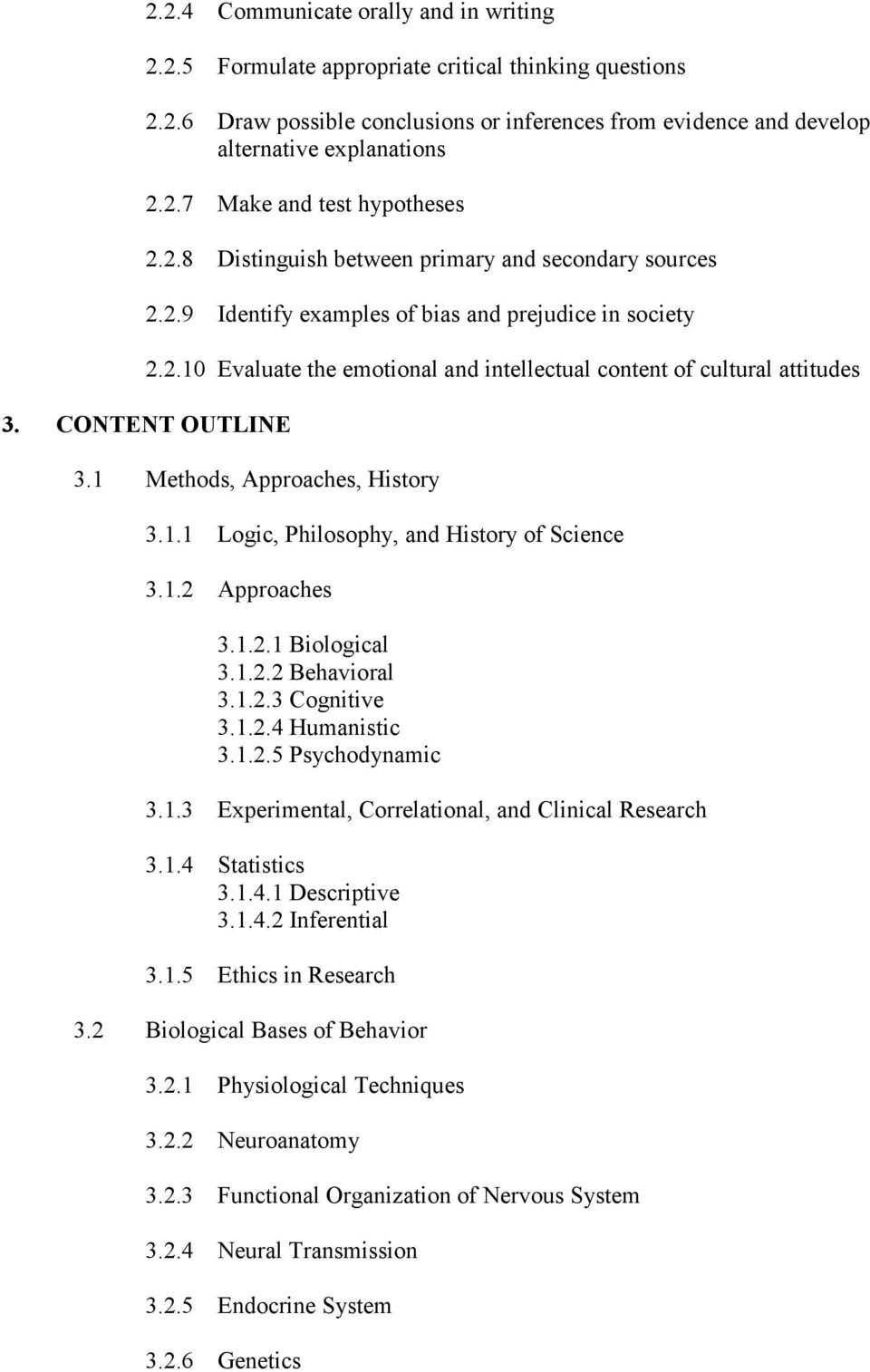 CONTENT OUTLINE 3.1 Methods, Approaches, History 3.1.1 Logic, Philosophy, and History of Science 3.1.2 Approaches 3.1.2.1 Biological 3.1.2.2 Behavioral 3.1.2.3 Cognitive 3.1.2.4 Humanistic 3.1.2.5 Psychodynamic 3.