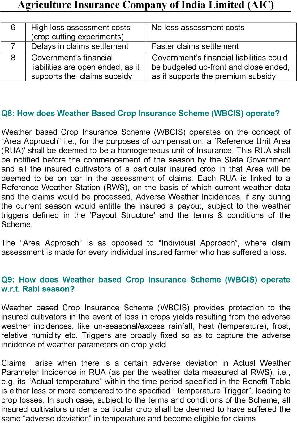 operate? Weather based Crop Insurance Scheme (WBCIS) operates on the concept of Area Approach i.e., for the purposes of compensation, a Reference Unit Area (RUA) shall be deemed to be a homogeneous unit of Insurance.