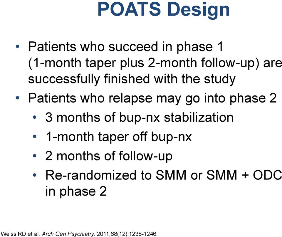 of bup-nx stabilization 1-month taper off bup-nx 2 months of follow-up Re-randomized to