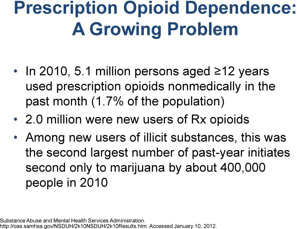 0 million were new users of Rx opioids Among new users of illicit substances, this was the second largest number of past-year