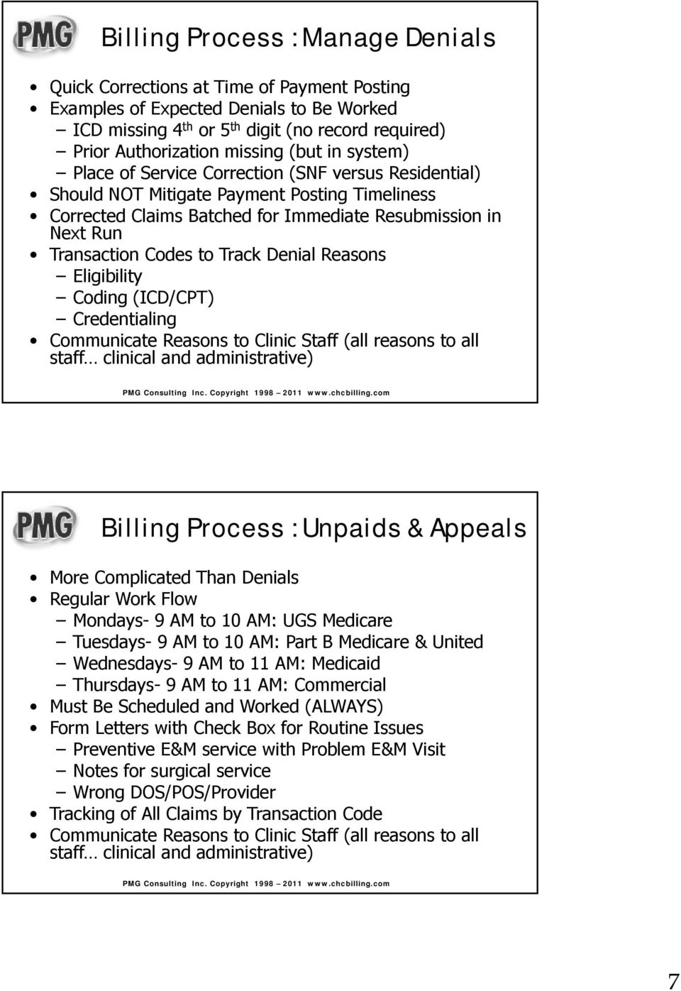 to Track Denial Reasons Eligibilityibili Coding(ICD/CPT) Credentialing Communicate Reasons to Clinic Staff (all reasons to all staff clinical and administrative) Billing Process : Unpaids & Appeals