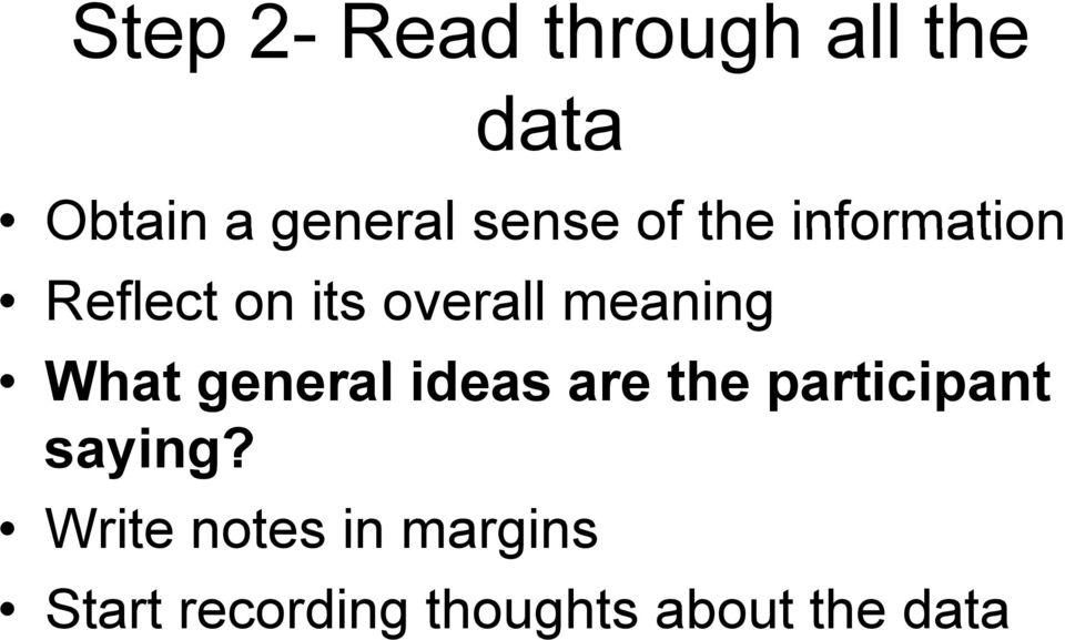 meaning What general ideas are the participant i t