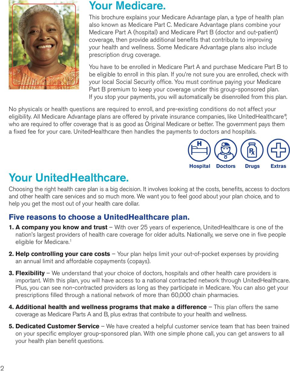 wellness. Some Medicare Advantage plans also include prescription drug coverage. You have to be enrolled in Medicare Part A and purchase Medicare Part B to be eligible to enroll in this plan.