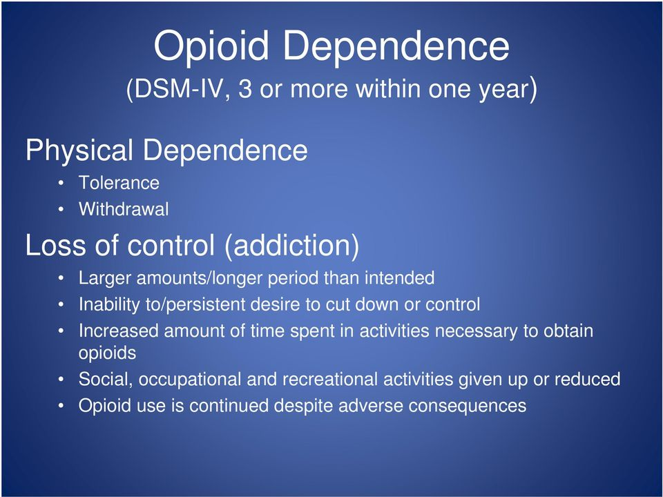 down or control Increased amount of time spent in activities necessary to obtain opioids Social,