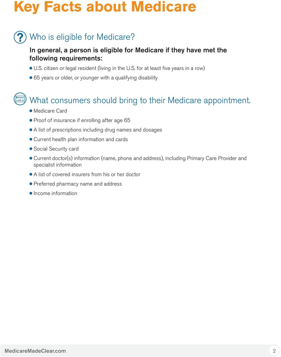 for at least five years in a row) 65 years or older, or younger with a qualifying disability What consumers should bring to their Medicare appointment.