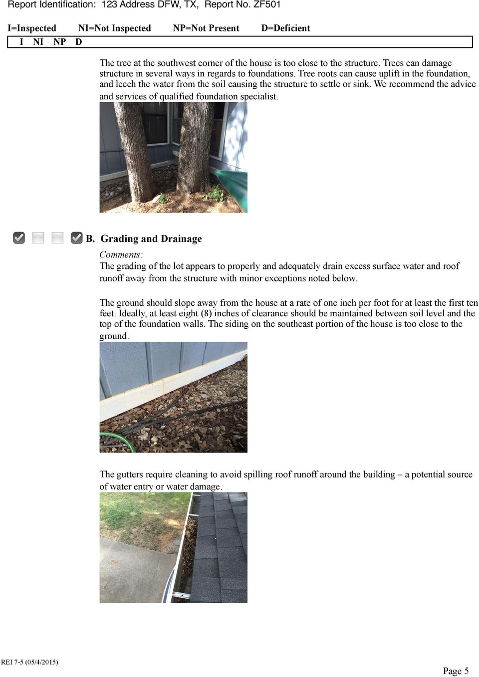 Grading and Drainage Comments: The grading of the lot appears to properly and adequately drain excess surface water and roof runoff away from the structure with minor exceptions noted below.