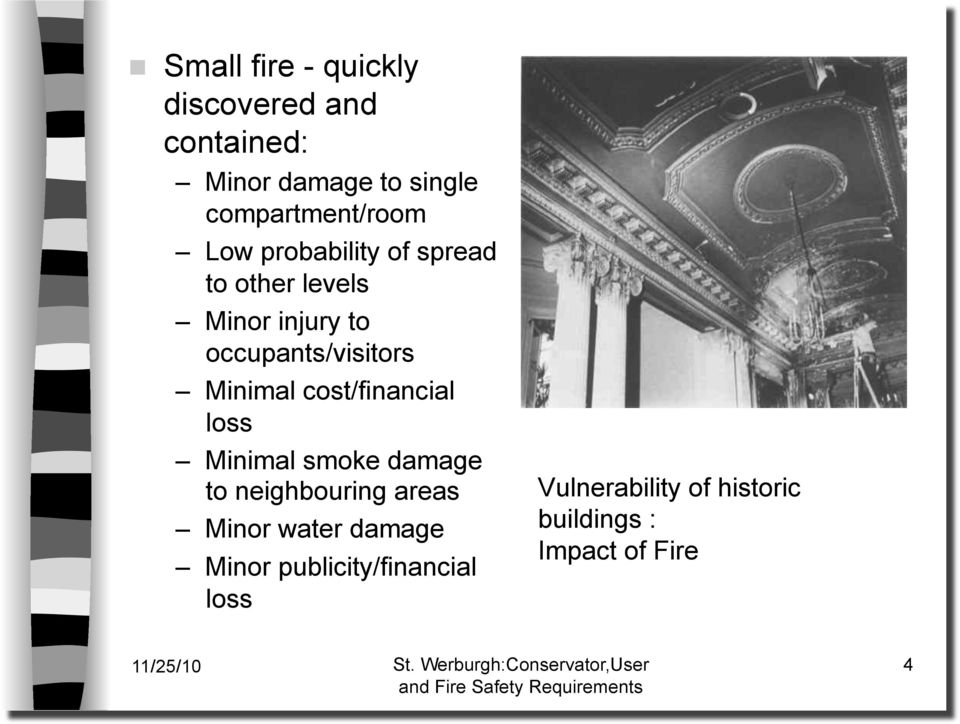 occupants/visitors Minimal cost/financial loss Minimal smoke damage to neighbouring
