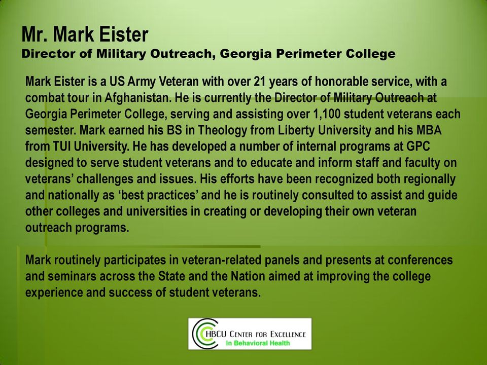 Mark earned his BS in Theology from Liberty University and his MBA from TUI University.