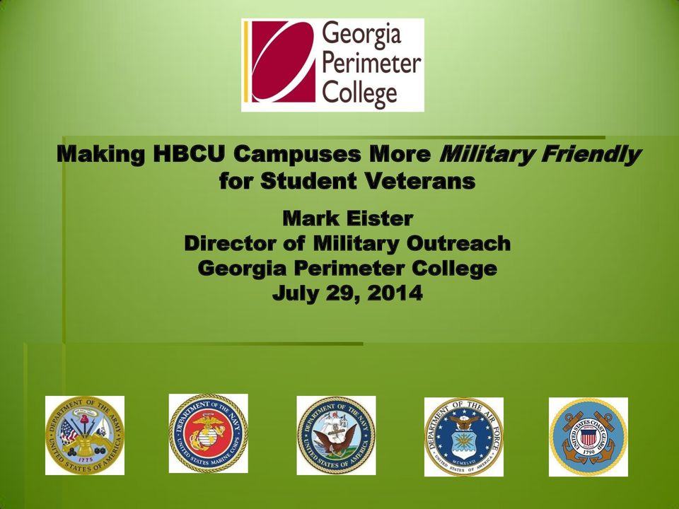 Eister Director of Military Outreach