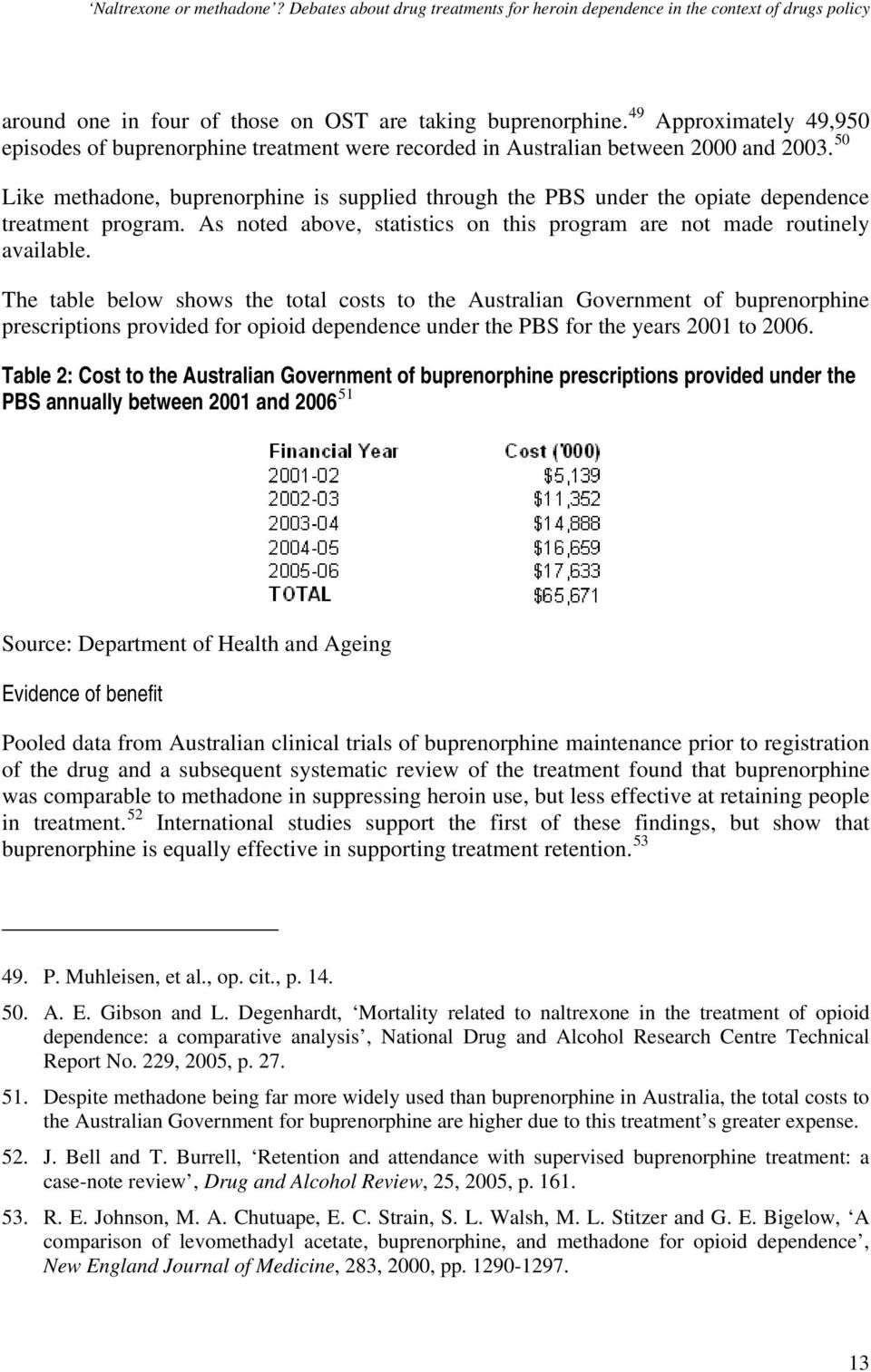 The table below shows the total costs to the Australian Government of buprenorphine prescriptions provided for opioid dependence under the PBS for the years 2001 to 2006.