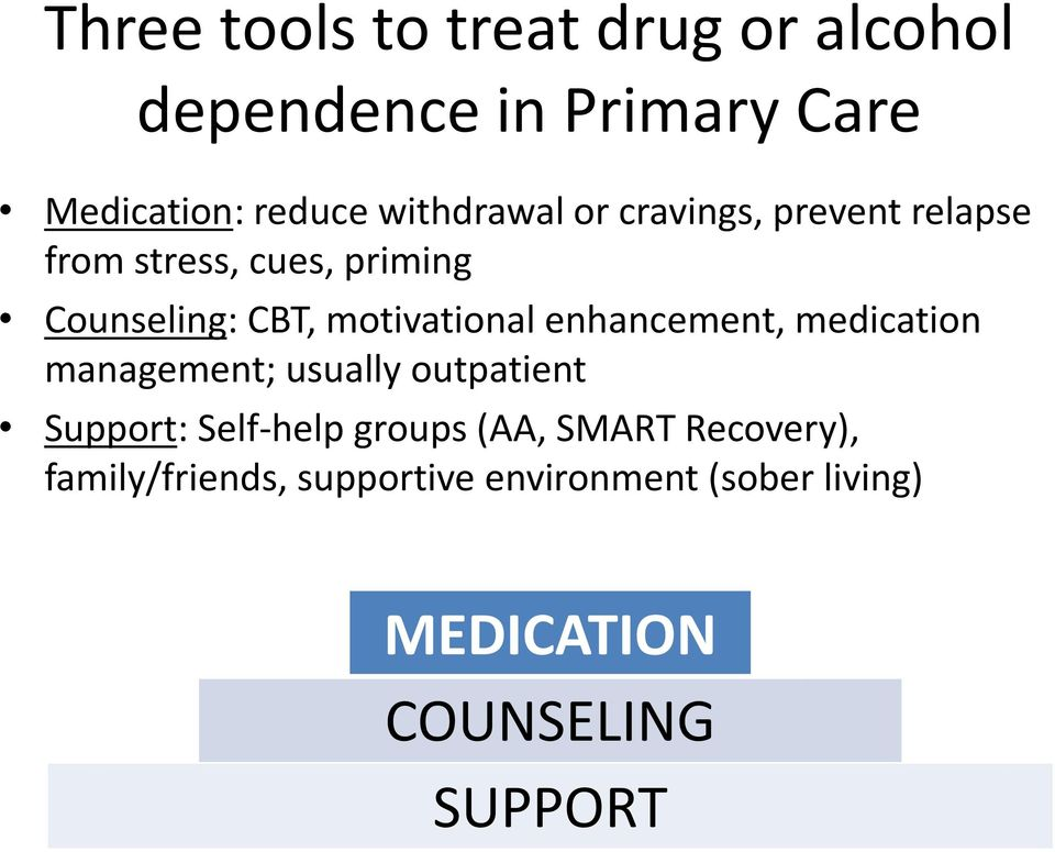 motivational enhancement, medication management; usually outpatient Support: Self-help