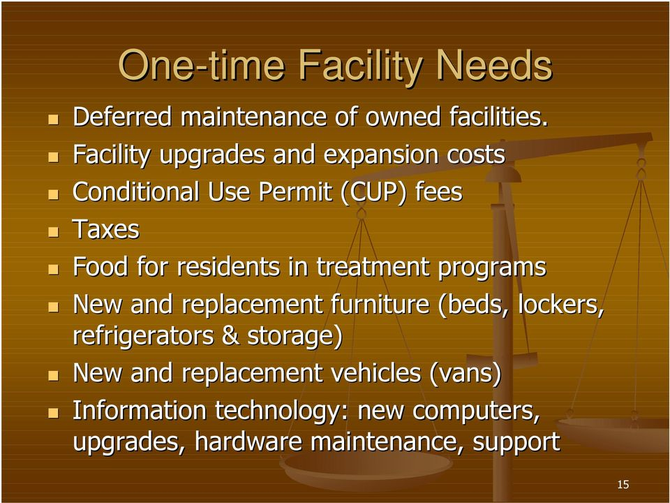 residents in treatment programs New and replacement furniture (beds, lockers, refrigerators &