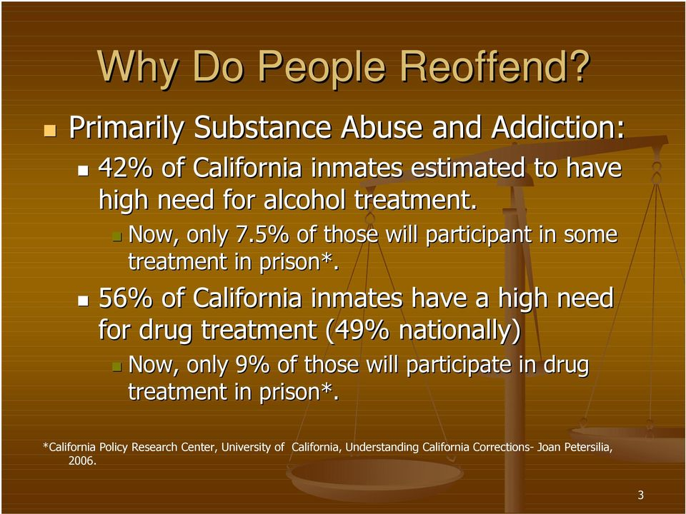 Now, only 7.5% of those will participant in some treatment in prison*.