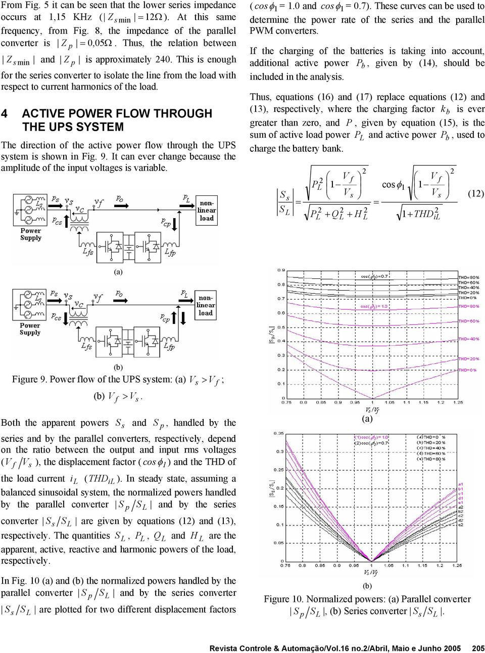 4 ACTIVE POWER FLOW THROUGH THE UPS SYSTEM Th dirction o th activ powr low through th UPS ytm i hown in Fig. 9. It can vr chang bcau th amplitud o th input voltag i variabl. ( co 1 = 1.0 and co 1 = 0.