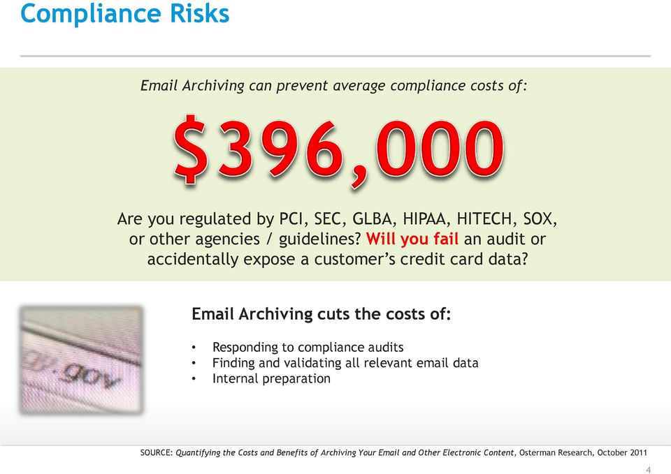 Email Archiving cuts the costs of: Responding to compliance audits Finding and validating all relevant email data Internal