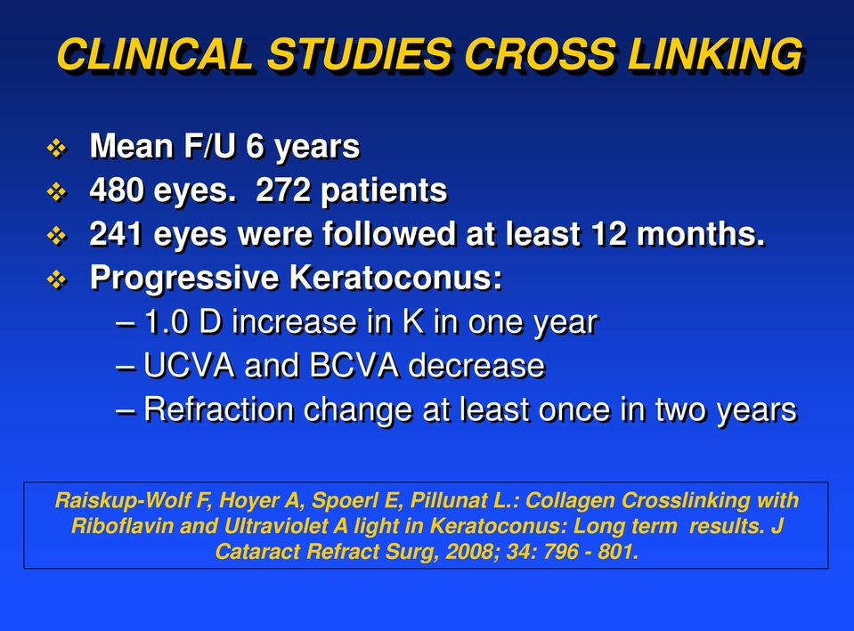 0 D increase in K in one year UCVA and BCVA decrease Refraction change at least once in two years
