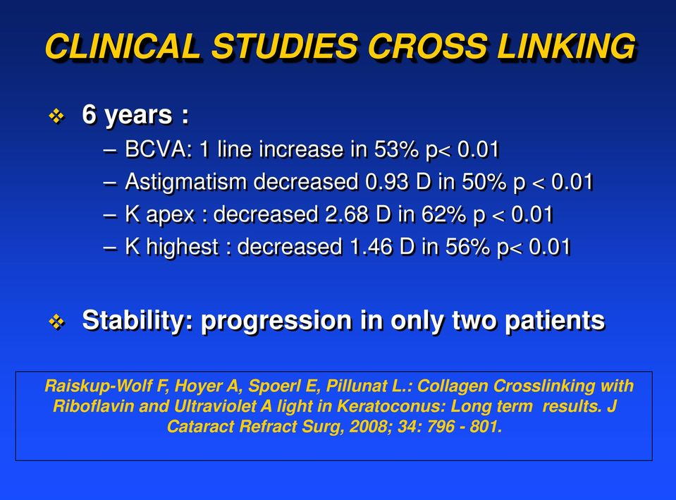 01 Stability: progression in only two patients Raiskup-Wolf F, Hoyer A, Spoerl E, Pillunat L.