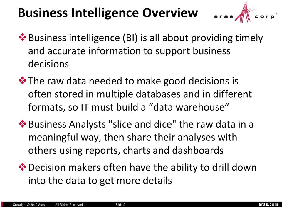 "warehouse Business Analysts ""slice and dice"" the raw data in a meaningful way, then share their analyses with others using reports, charts"