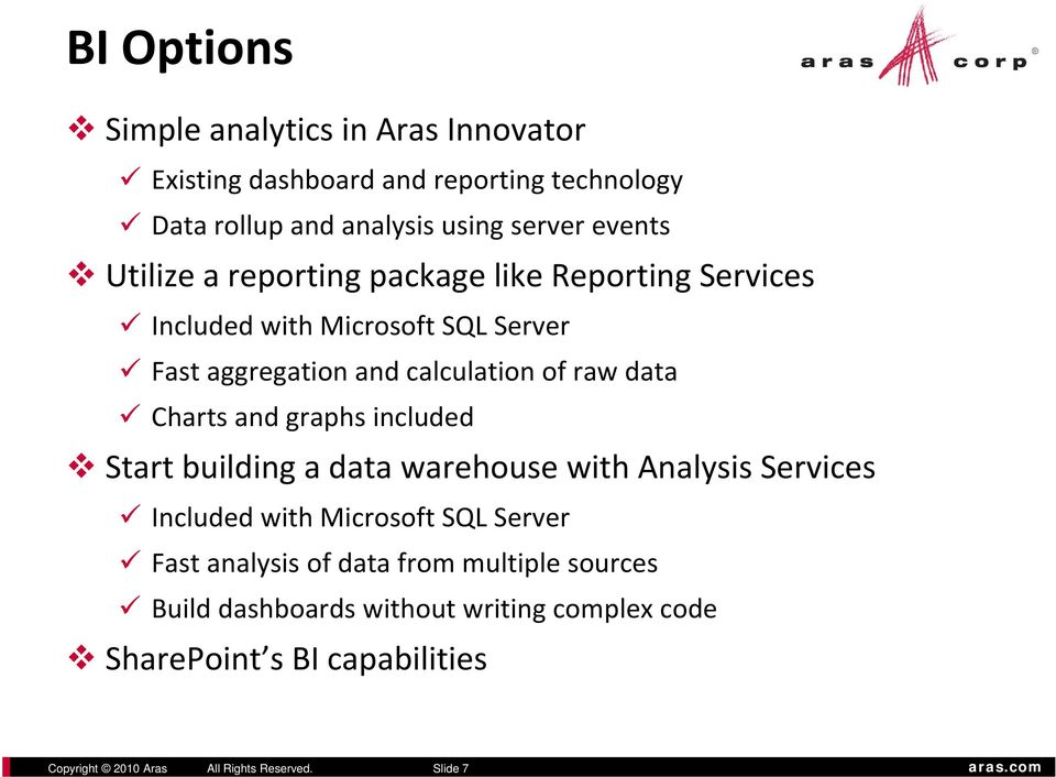 Charts and graphs included Start building a data warehouse with Analysis Services Included with Microsoft SQL Server Fast analysis of