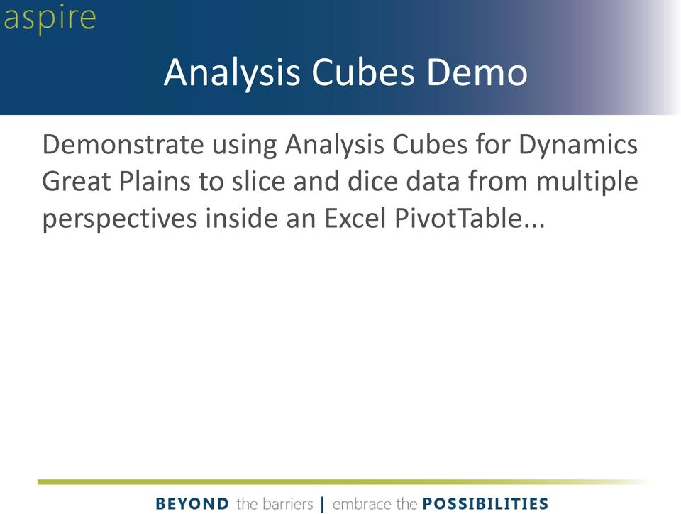 Plains to slice and dice data from