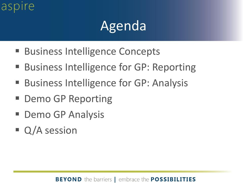 Business Intelligence for GP: Analysis
