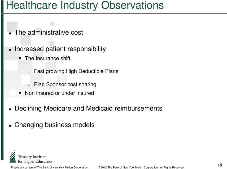 insured Declining Medicare and Medicaid reimbursements Changing business models Proprietary content