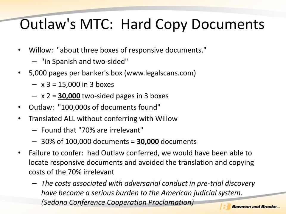 "irrelevant"" 30% of 100,000 documents = 30,000 documents Failure to confer: had Outlaw conferred, we would have been able to locate responsive documents and avoided the translation"