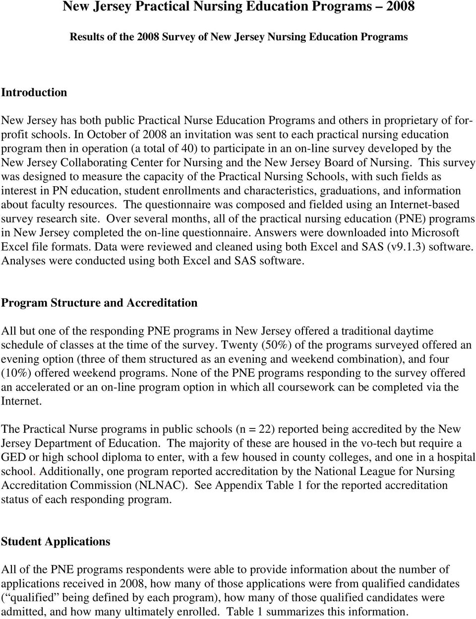 In October of 2008 an invitation was sent to each practical nursing education program then in operation (a total of 40) to participate in an on-line survey developed by the New Jersey Collaborating