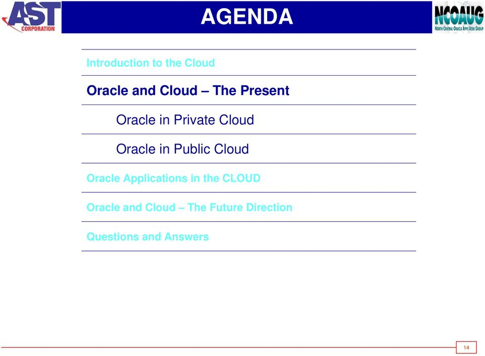Public Cloud Oracle Applications in the CLOUD