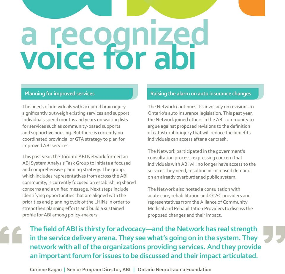 This past year, the Toronto ABI Network formed an ABI System Analysis Task Group to initiate a focused and comprehensive planning strategy.