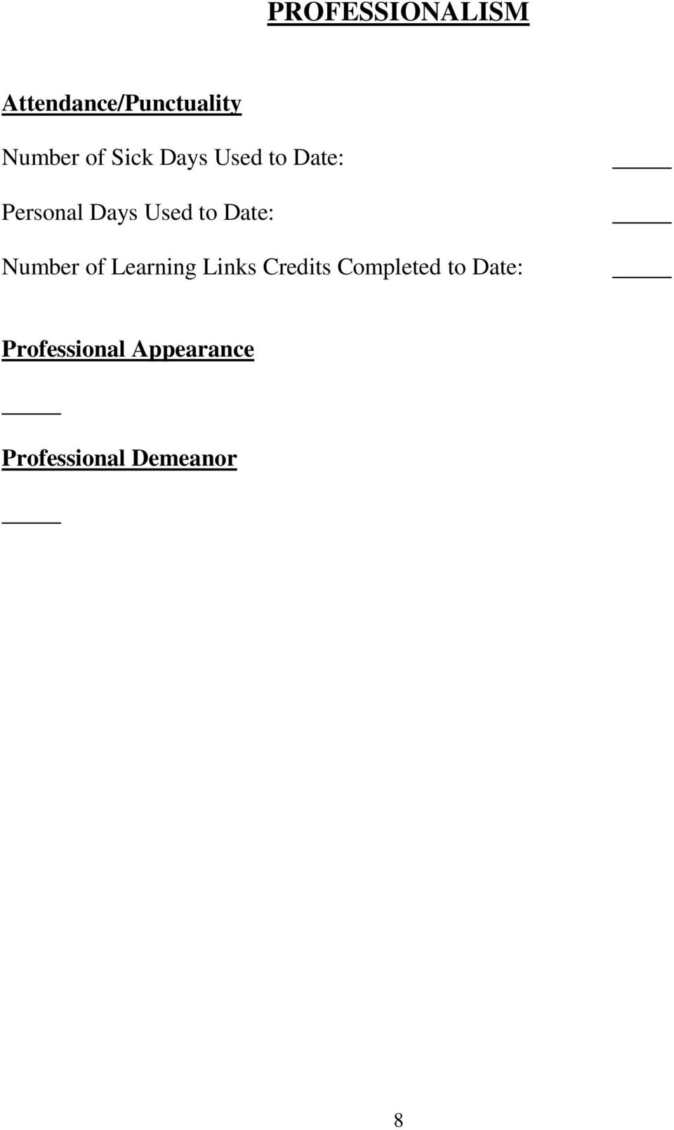 Date: Number of Learning Links Credits Completed