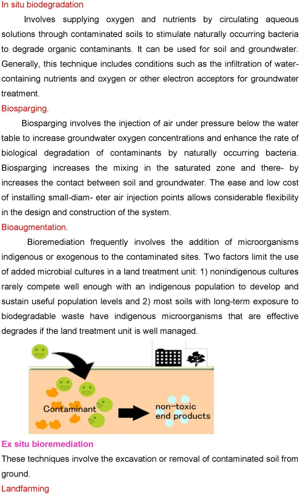 Generally, this technique includes conditions such as the infiltration of watercontaining nutrients and oxygen or other electron acceptors for groundwater treatment. Biosparging.