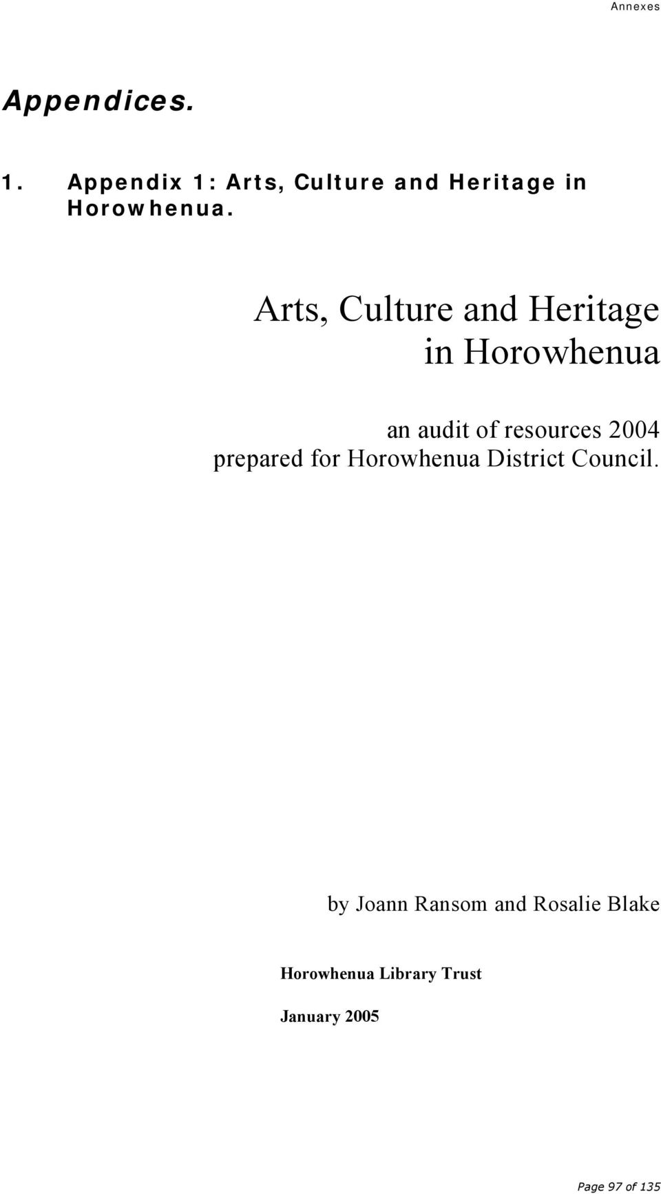 Arts, Culture and Heritage in Horowhenua an audit of resources