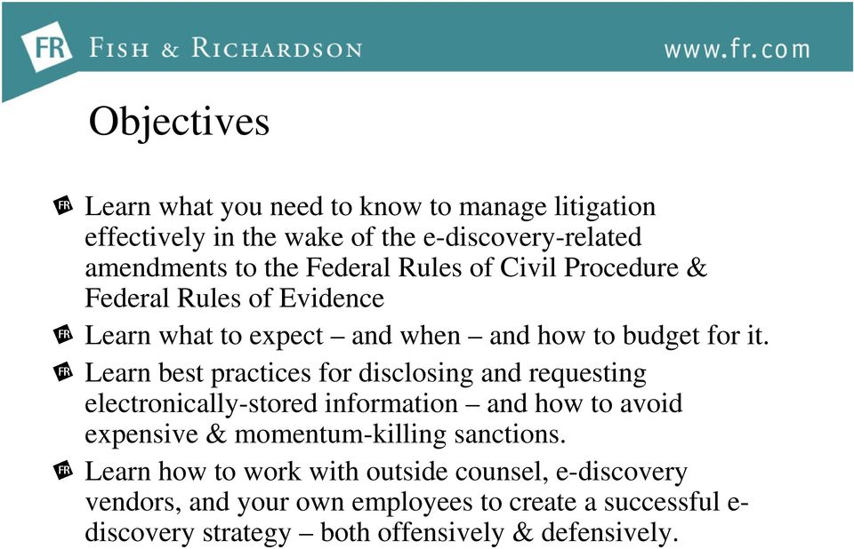 Learn best practices for disclosing and requesting electronically-stored information and how to avoid expensive & momentum-killing