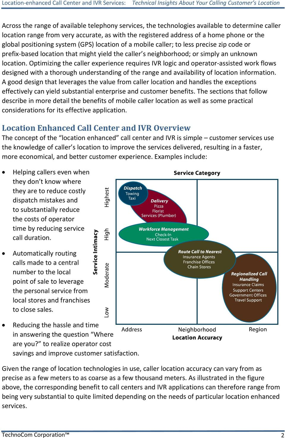 Optimizing the caller experience requires IVR logic and operator assisted work flows designed with a thorough understanding of the range and availability of location information.
