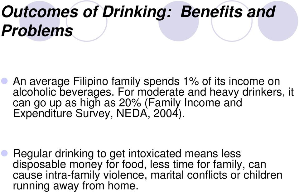 For moderate and heavy drinkers, it can go up as high as 20% (Family Income and Expenditure Survey,