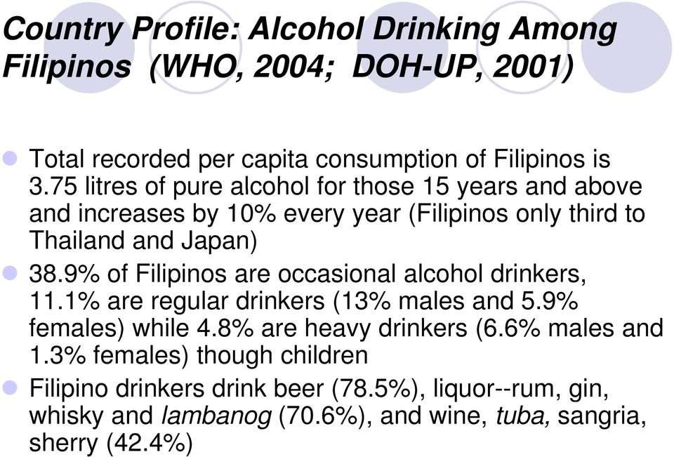 9% of Filipinos are occasional alcohol drinkers, 11.1% are regular drinkers (13% males and 5.9% females) while 4.8% are heavy drinkers (6.