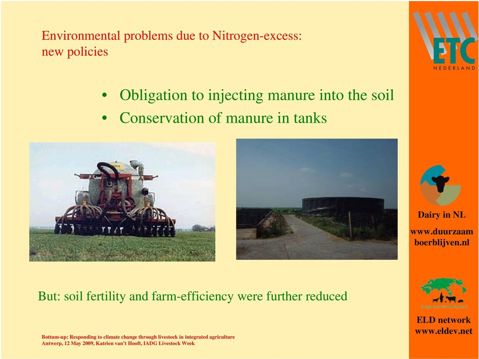 the soil Conservation of manure in tanks But: