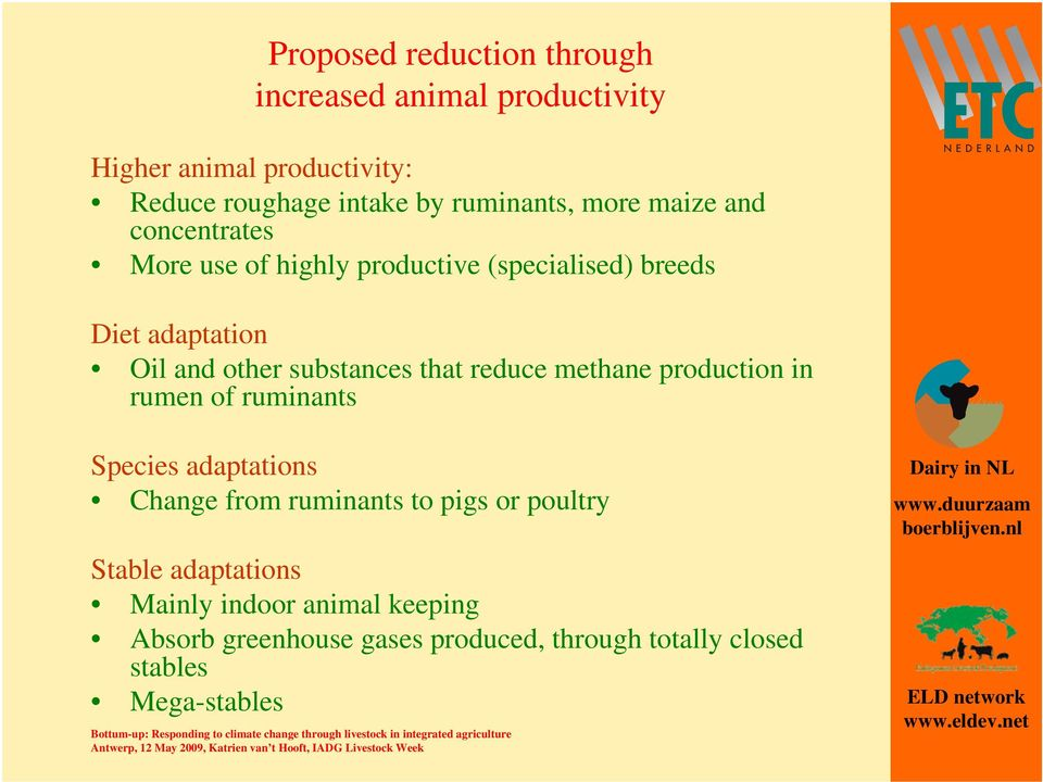 substances that reduce methane production in rumen of ruminants Species adaptations Change from ruminants to pigs or